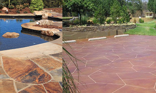 flagstone slate stain stamp refinish resurface contractor company orange county